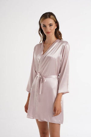 Women Blush Satin Bridemaid Dressing Gown & Robe