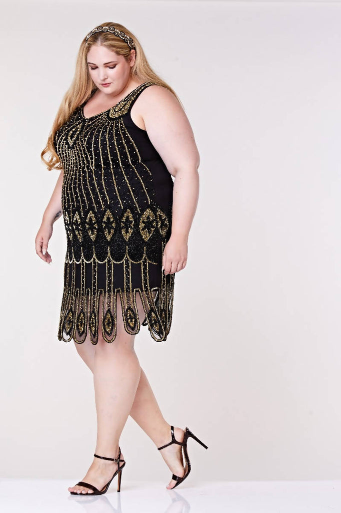Molly Hand Embellished Flapper Dress - Plus Size