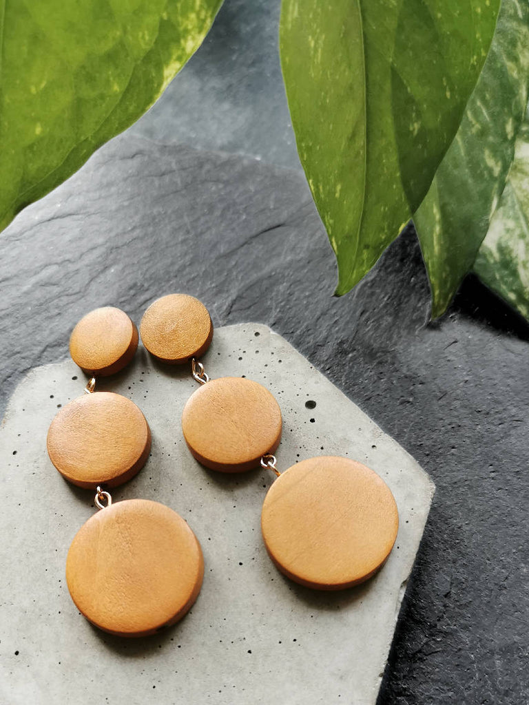 Wooden Triple Circle Drop Earrings
