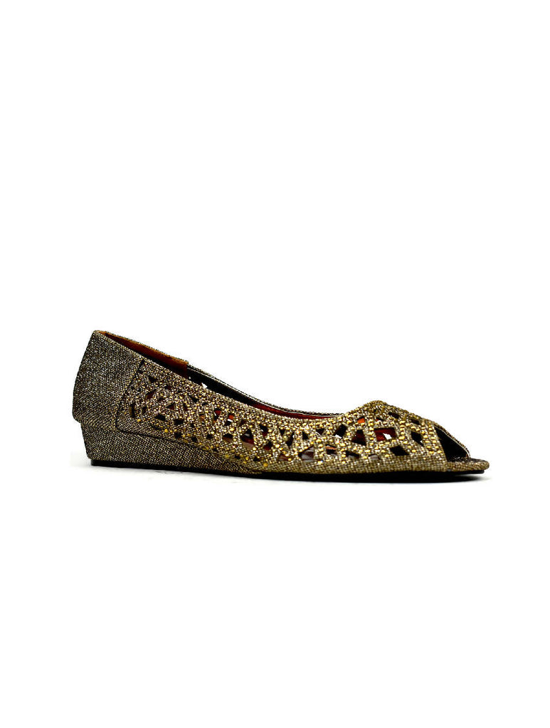 LSH-8054 SH19-09 BRONZE OPEN TOE DIAMANTE SHOE