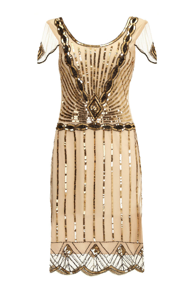 Eva Vintage Inspired Flapper Dress in Blush