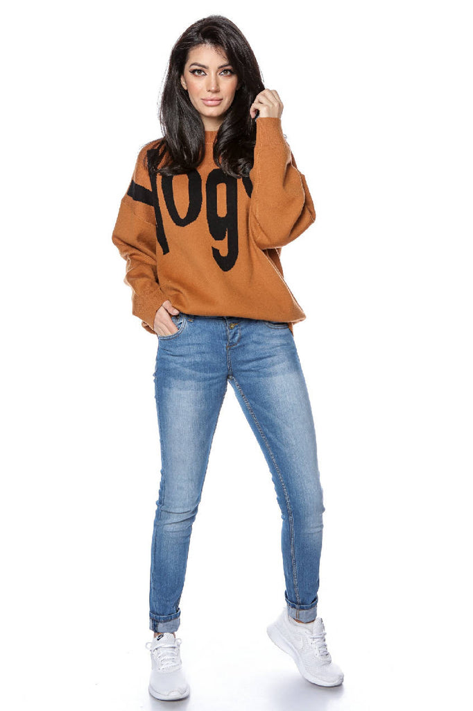 High quality knitted oversize jumper - Tan - AIMELIA - BR2297