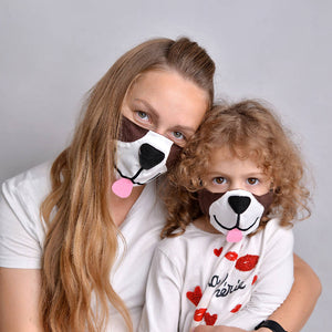 Puppy Face Mask with Filter Pockets - Machine Washable, 100% Cotton
