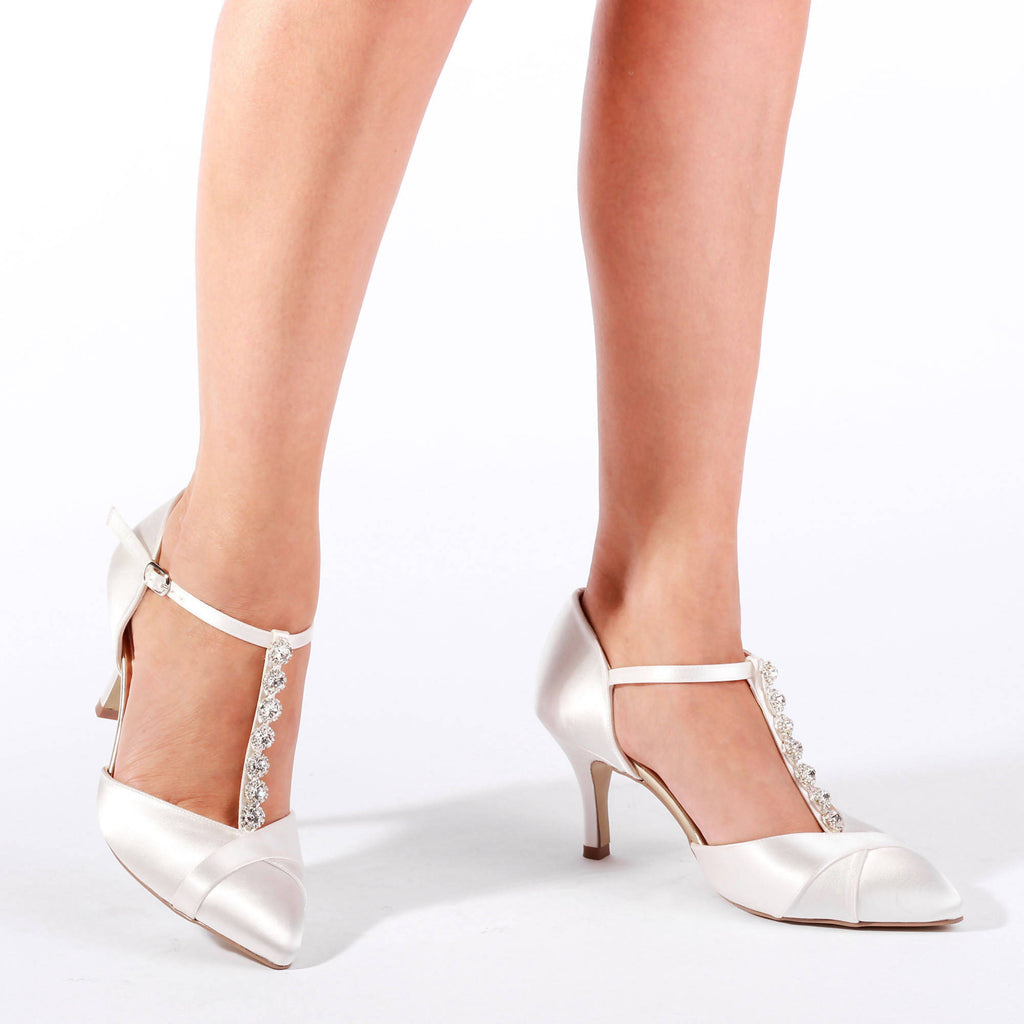 Satin Dyeable 'Anika' Two Part Mid Heel Shoe