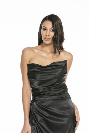 Strapless Slit Satin Evening Dress