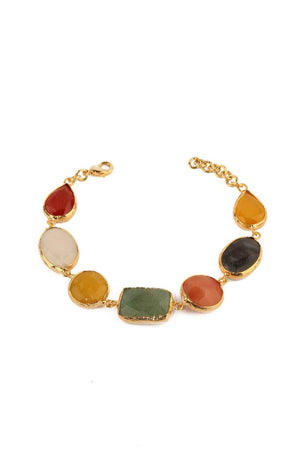 Natural Stone Bezel Bracelet with 7 Stones