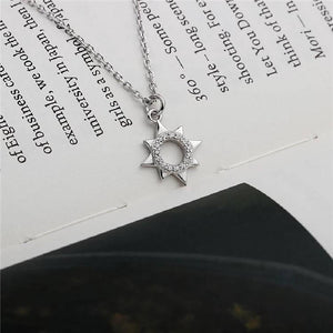 Sterling Silver Delicate Sun Necklace with Cubic Zirconia Stones