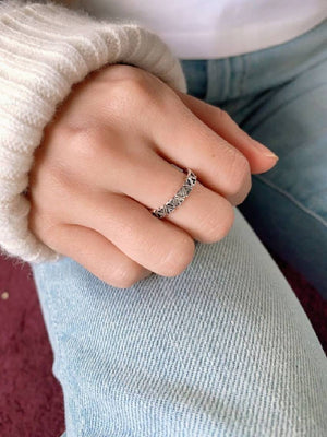 Silver Heart Band Ring