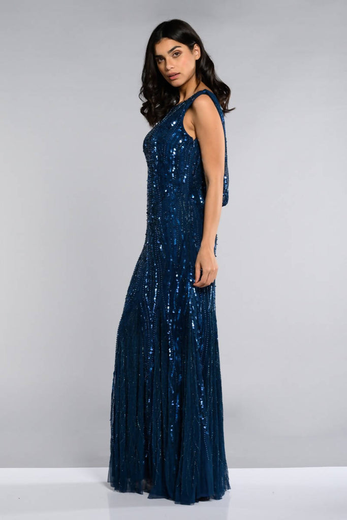 Catherine Maxi Prom Dress with Cowl Back Neck - Hand Embellished
