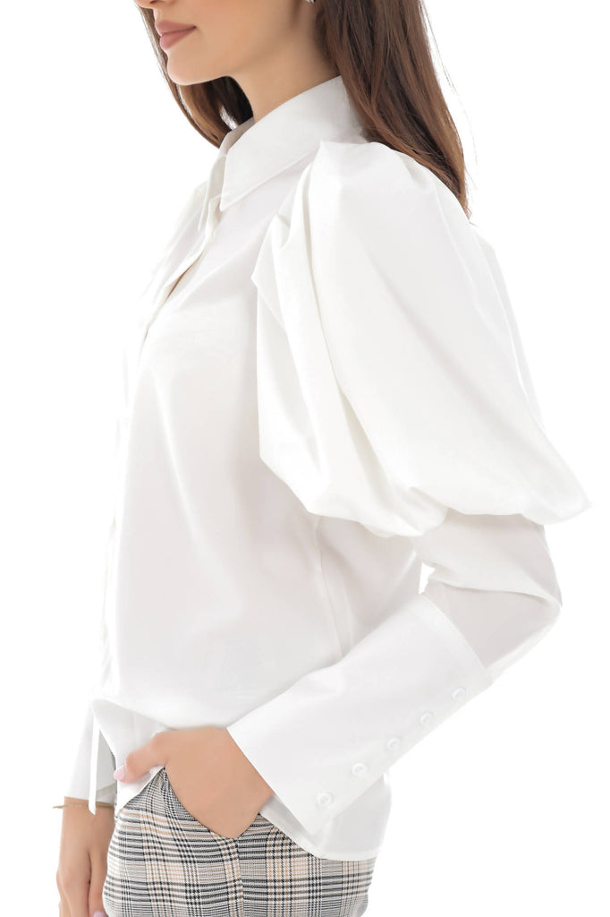 Puffed sleeve shirt with long sleeves and button-through front - Aimelia - BR2244