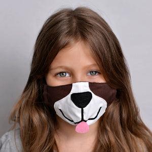 Kids Puppy Face Mask with Filter Pockets - Machine Washable, 100% Cotton
