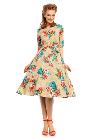 Looking Glam Retro Vintage 1940's Shirt Dress in Floral Print in Beige