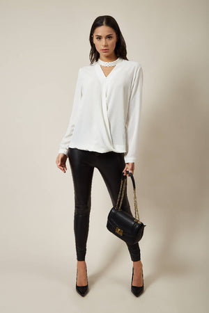 Long Sleeves Oversized Top with Pearl Detail Collar in White