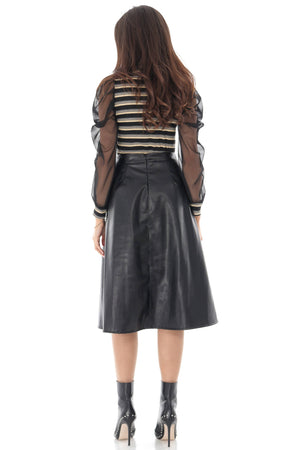 Midi faux leather skirt, Aimelia - FR464