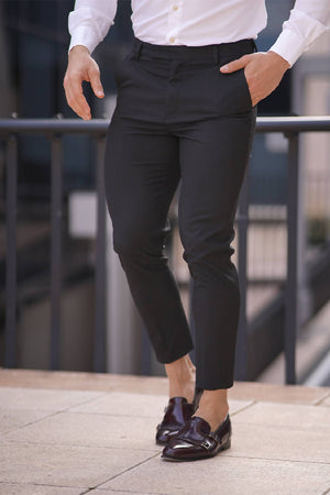 SLIM FORMAL BLACK STRETCH TROUSERS