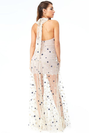 STAR MESH HALTER NECK MAXI DRESS