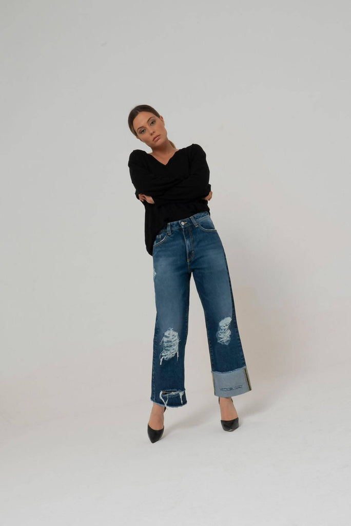 DOUTZEN Wide Leg Distressed Jeans