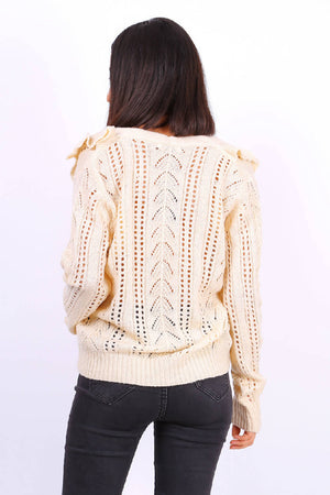 Button Front Ruffle Knit Cardigan In Beige