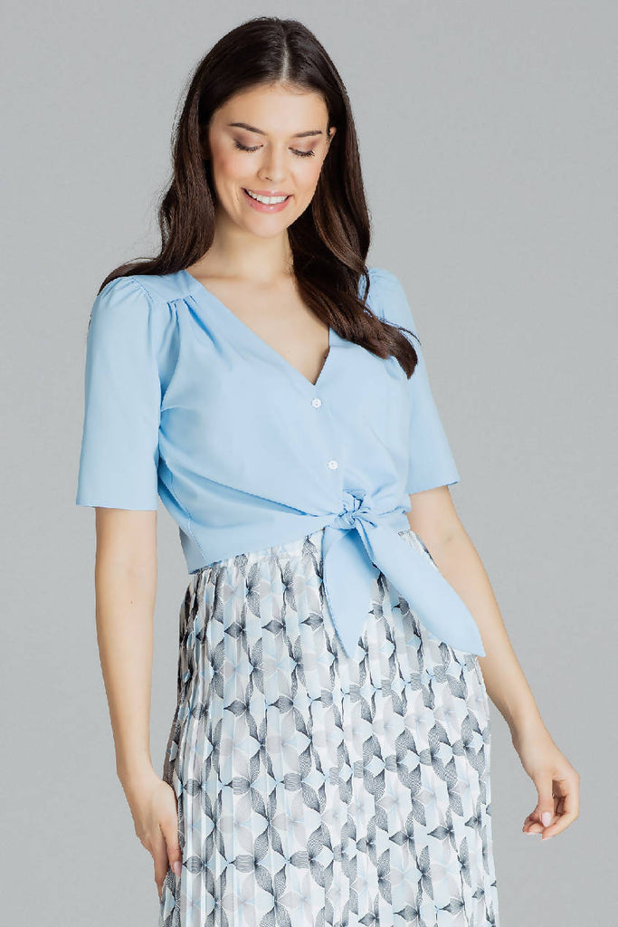 Short, Simple Blouse With a Decorative Tie
