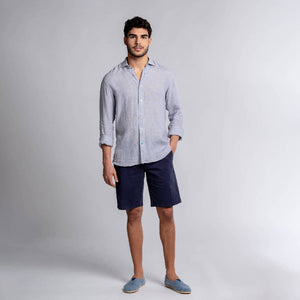 KRABI Checked Linen Shirt - Grey