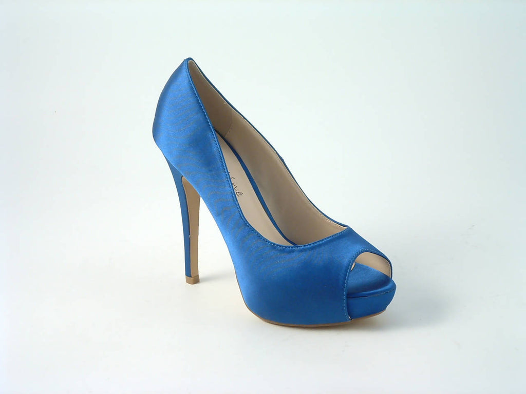 Sabatiné Satin Platform Heels with Peep-Toe