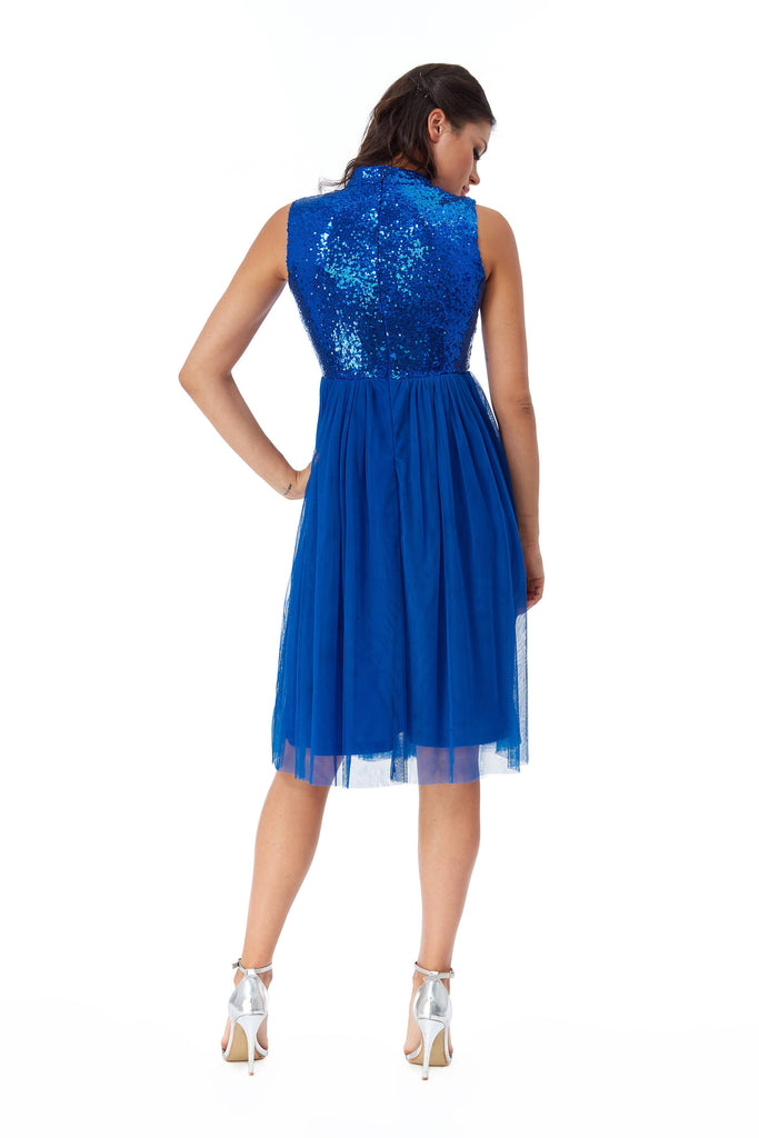 HIGH NECK SEQUIN AND MESH MIDI DRESS IN BLUE