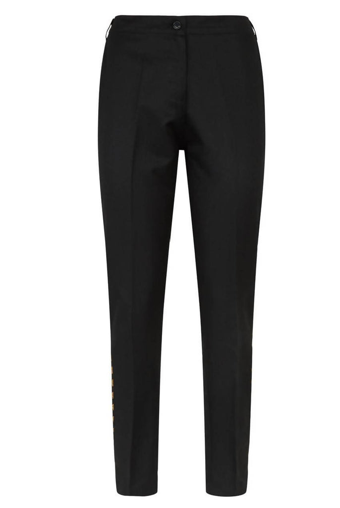Cropped Cigarette Slim Pants Black