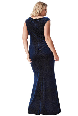PLUS SIZE GLITTER VELVET MAXI DRESS WITH BOW DETAIL