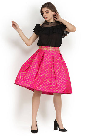 Party Pink Brocade Embellished Pleated Midi Skirt