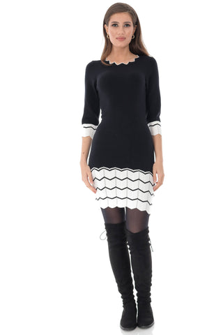 Knitted bodycon dress with contrasting zig-zag, Aimelia - DR4022