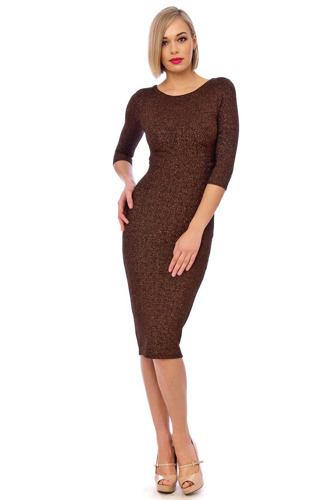 Bronze Bodycon 3/4 Sleeve Midi Dress