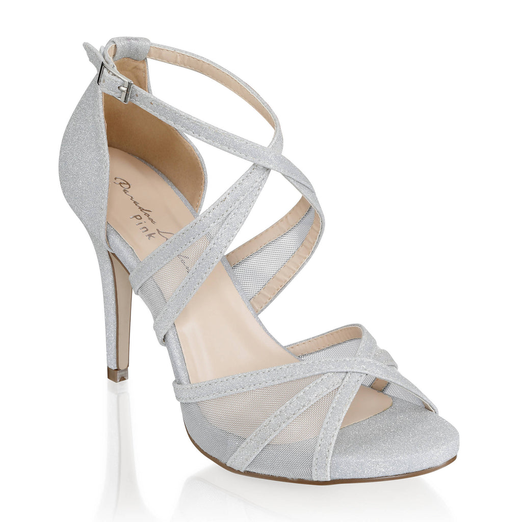 Hinoa' Mid Heel Ankle Strap Sandal - Silver