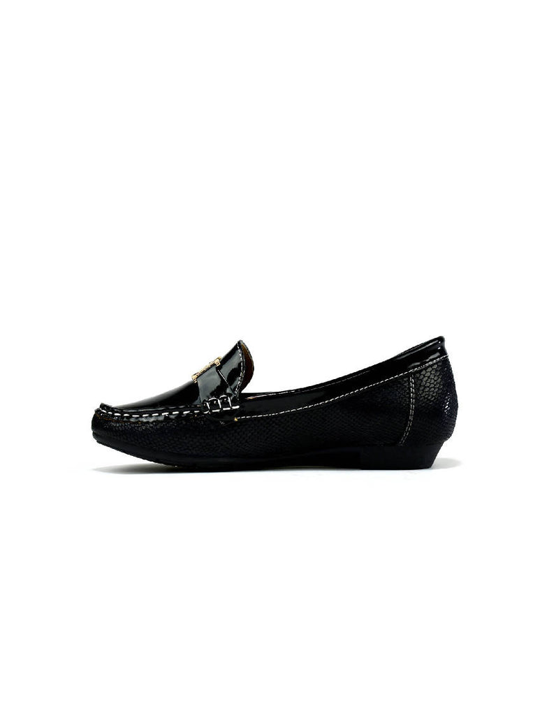 LSH-6904 3060 BUCKLE SLIP ON SHOES - BLACK - PACK OF 12 - SIZE 3 TO 8