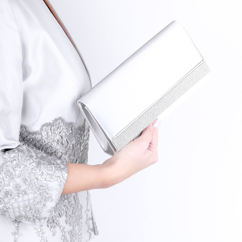 Delia Silver Satin Clutch Bag