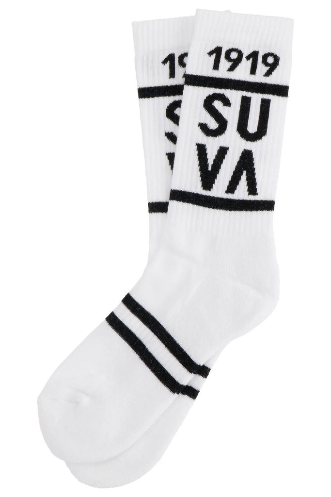 SUVA 1919 Retro heritage Sports halfterry socks Men - WhiteBlack