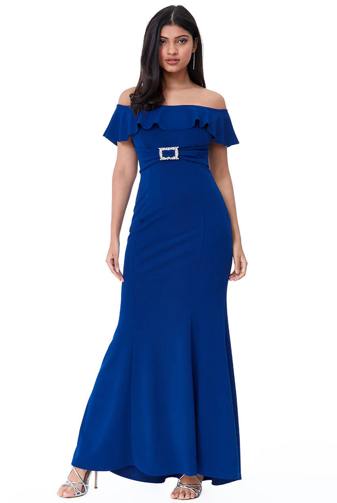 Frilled Bardot Maxi Dress with Diamante Trim