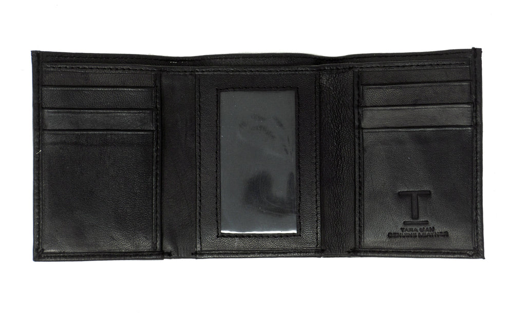 Men's Tara Black Leather Trifold Travel Wallet