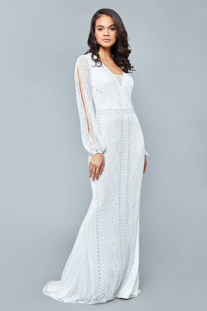 Gayle Maxi Long Open Sleeved Wedding Dress in White