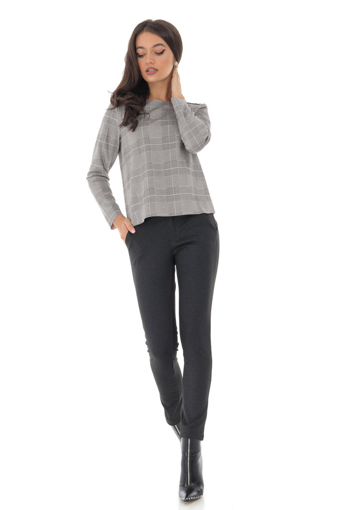 Long sleeved top, in checkers, Aimelia - BR2193
