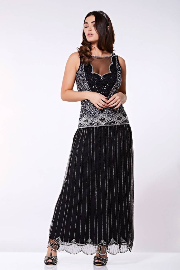 Hand Embellished Elaina Drop Waist Flapper Maxi Dress - Plus Size