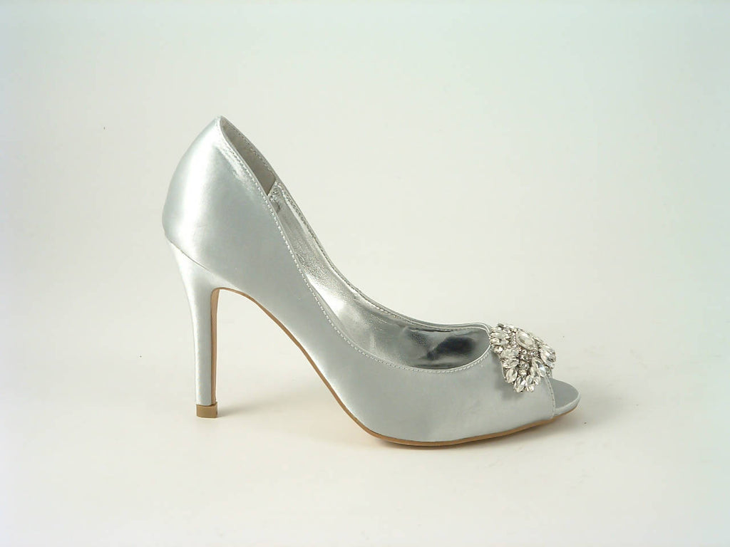 Diamante Satin Heel Peep Toe Court Shoe Sabatiné F240