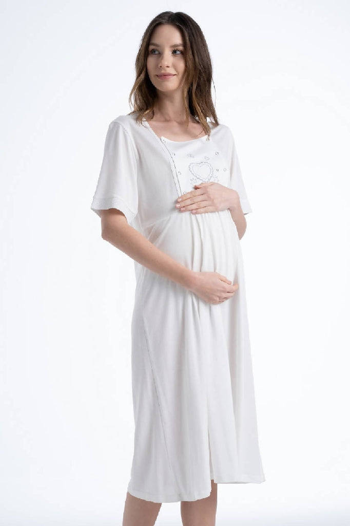Women Ivory Functional Maternity Dress