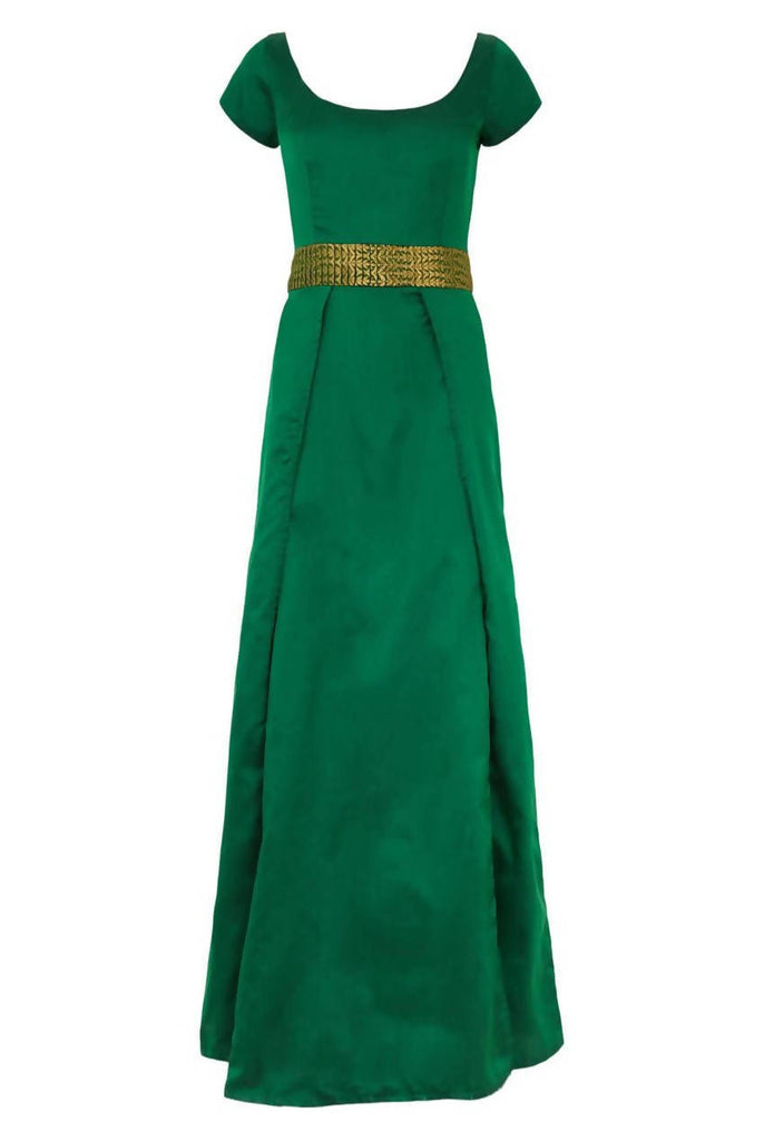 Green Wrap Cap Sleeve Silt Open Maxi