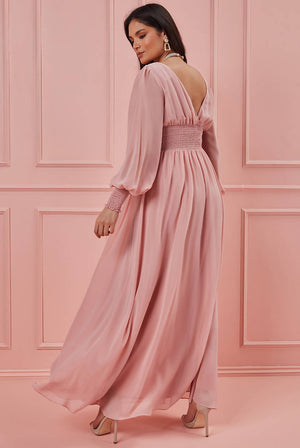 CHIFFON LONG PUFFY SLEEVE MAXI DRESS
