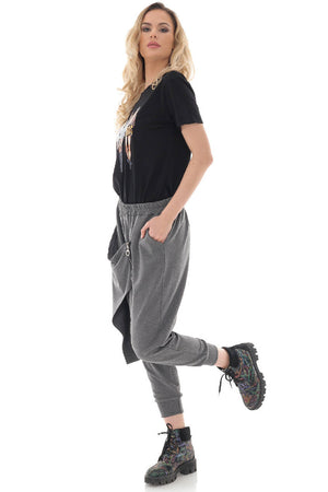 Soft Grey baggy joggers with elasticated waist - Aimelia - TR433