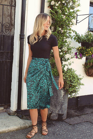 Green Leopard Print Satin Wrap Skirt