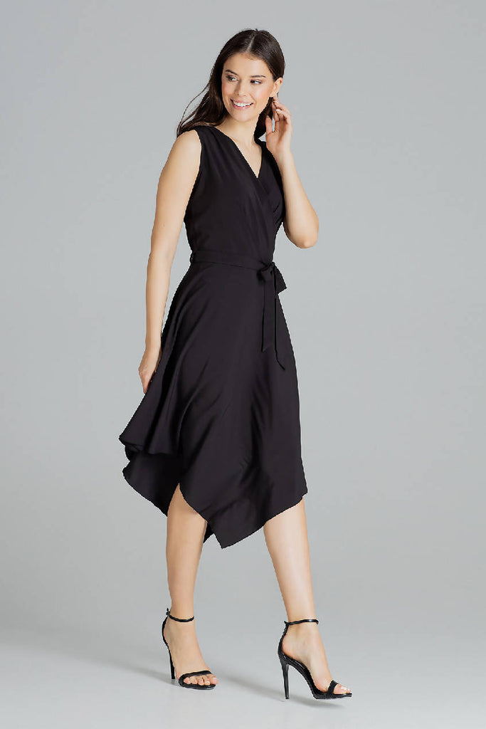 Sleeveless Midi Dress with An Asymmetrical Flared Bottom