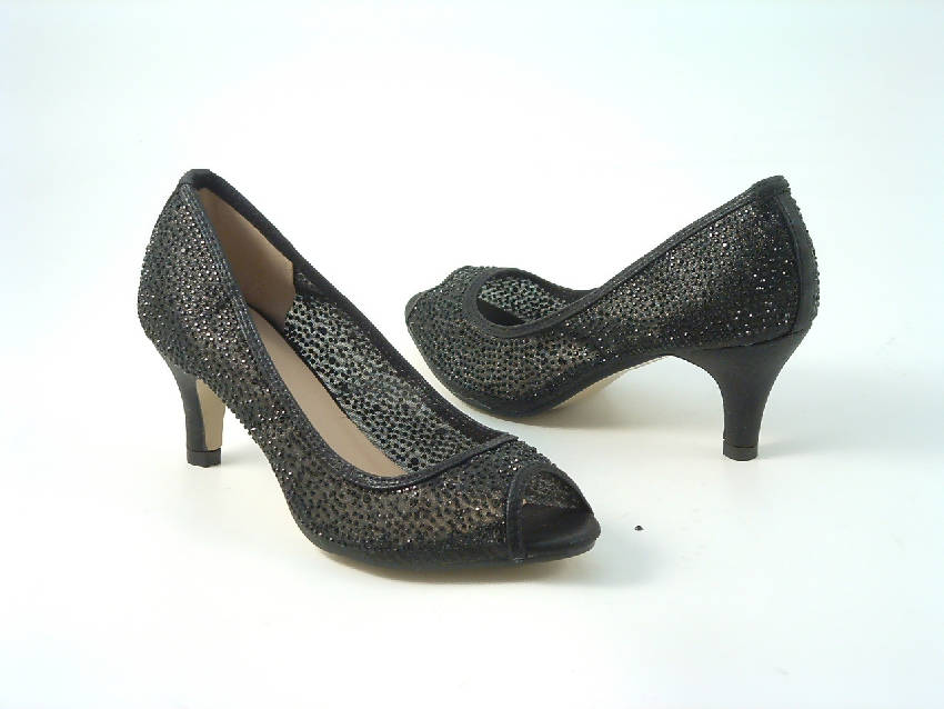 Diamante Mesh Peep Toe Court Shoe Low Mid Heel