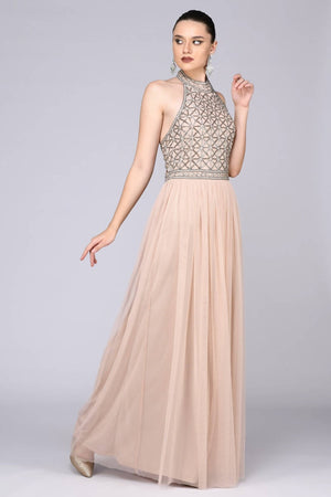 Selena Drop Waist Halter Neck Maxi Dress - Hand Embellished