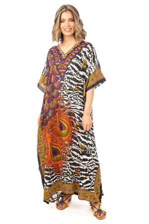 Full Length Maxi Long Kaftan in Animal Zebra Print
